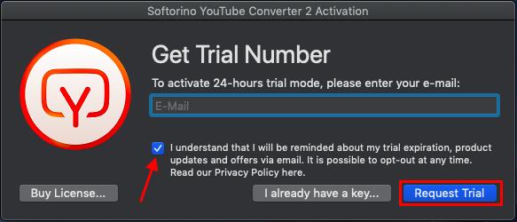 Recevrez la clé de licence gratuite en moins de 30 secondes pour commencer à utiliser l'application.