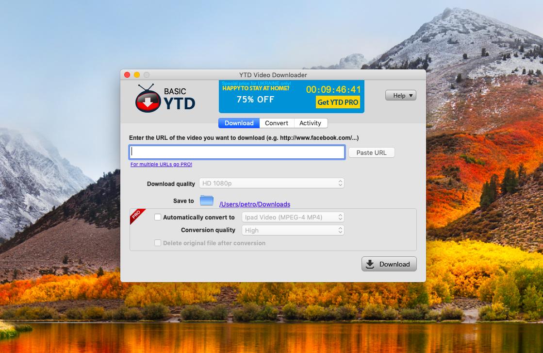 YTD pour Mac ne ressemble pas au téléchargeur natif de macOS YouTube.