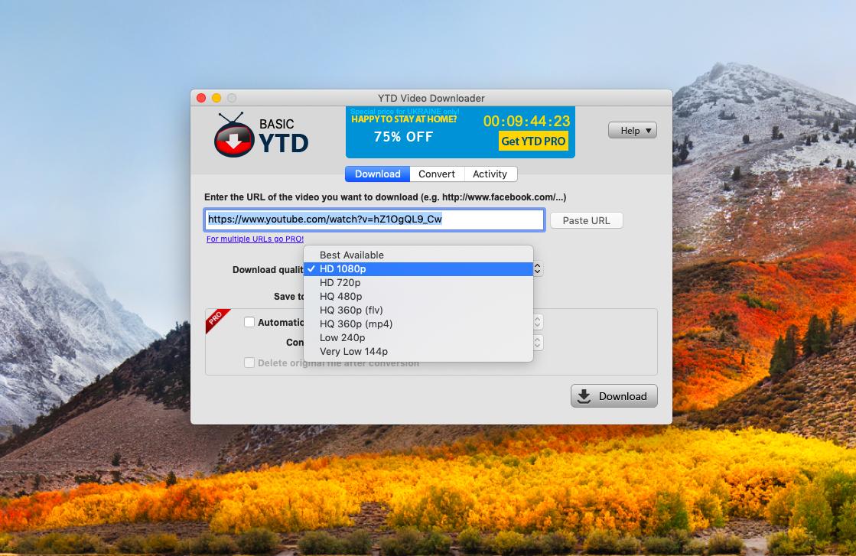 YTD Video téléchargeur pour Mac ne peut télécharger que des vidéos Youtube 1080p.