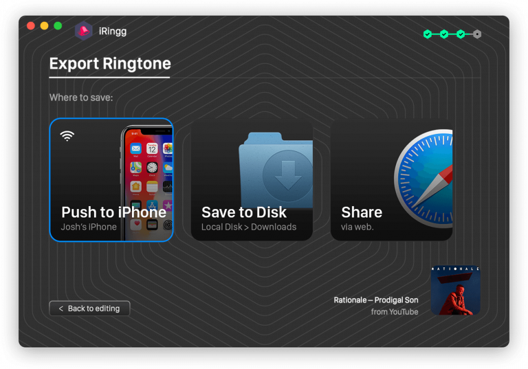 Push a ringtone to iPhone or save on a computer