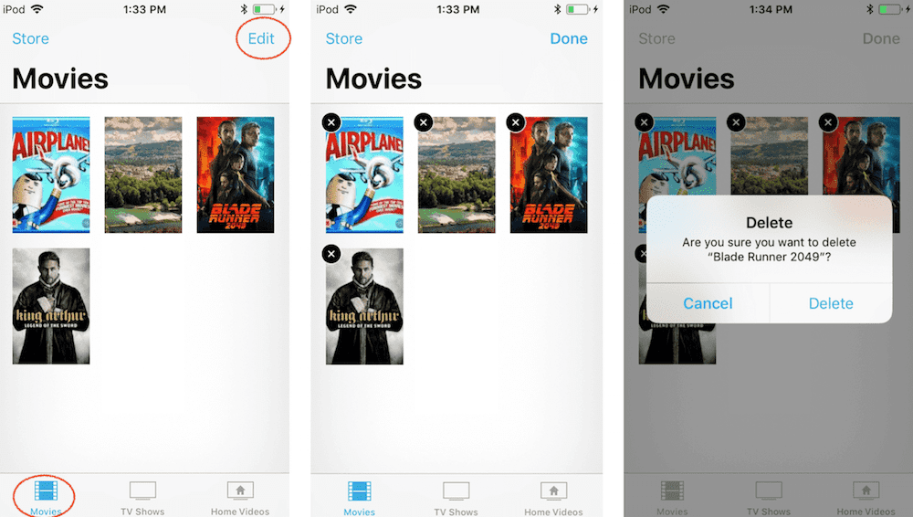 How to delete movies in iPad in Videos app