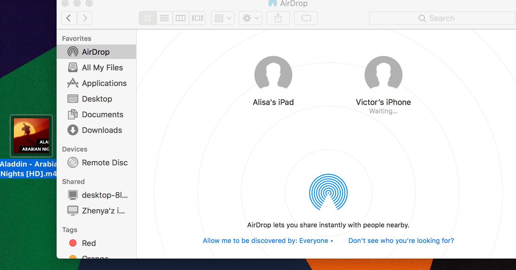 Mettez MP3 sur iPhone en utilisant Airdrop
