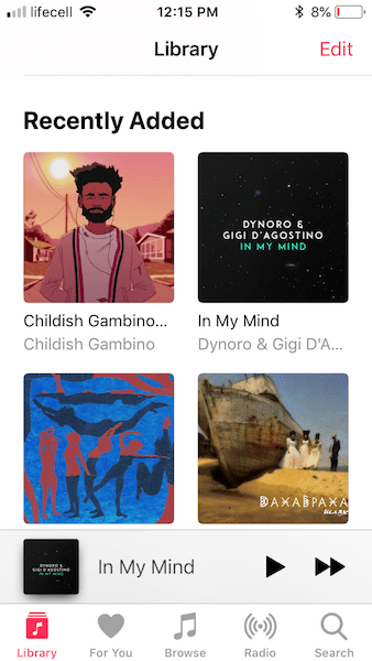 music library on iphone
