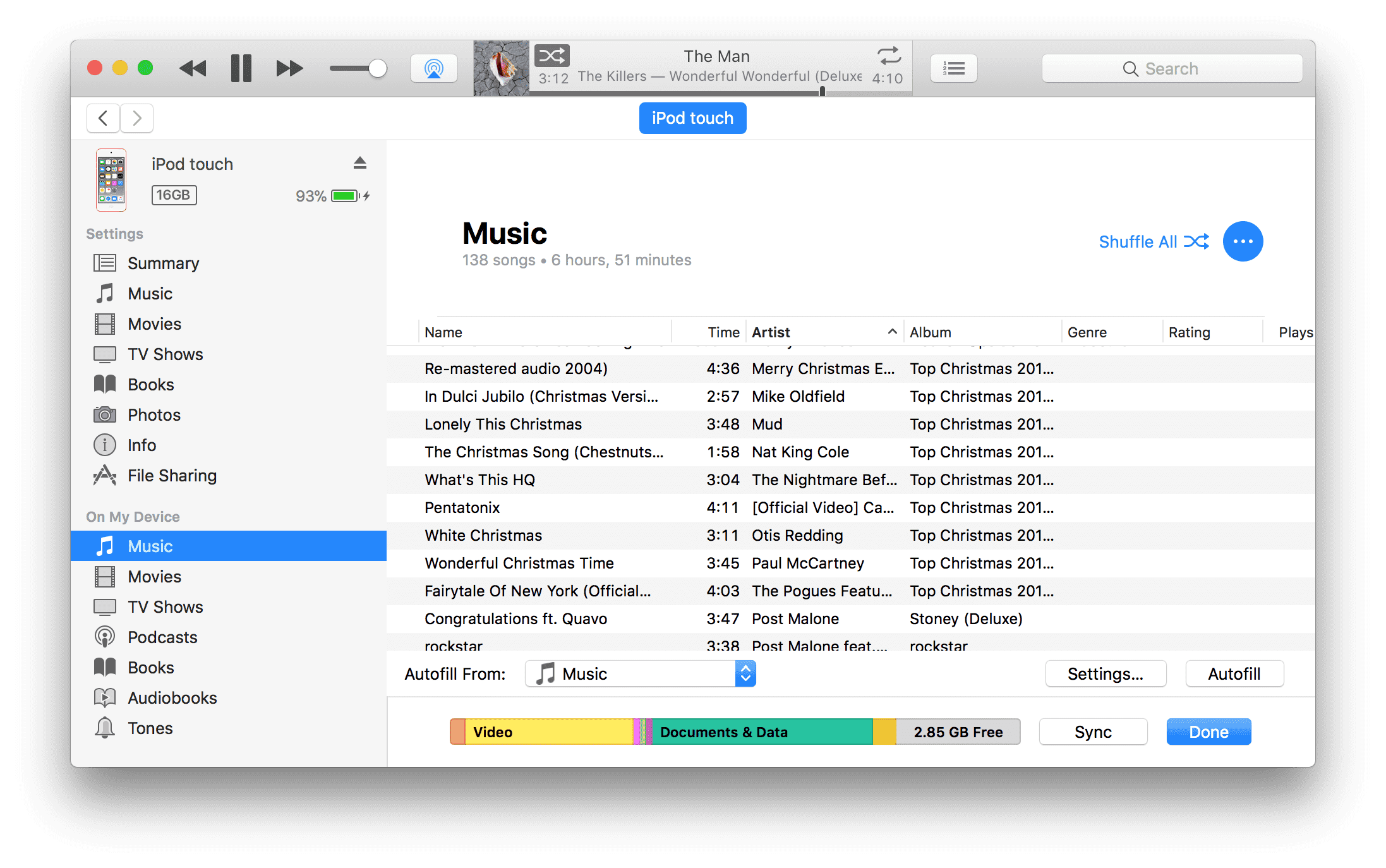 create a custom playlist in iTunes and sync it