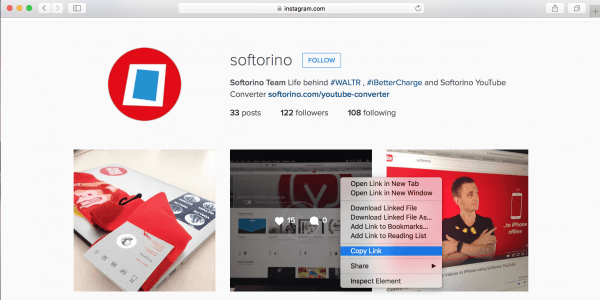 Copy a link and download Instagram videos in 2 clicks