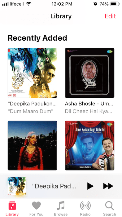 Listen to old Hindi songs on iPhone in the default Music app