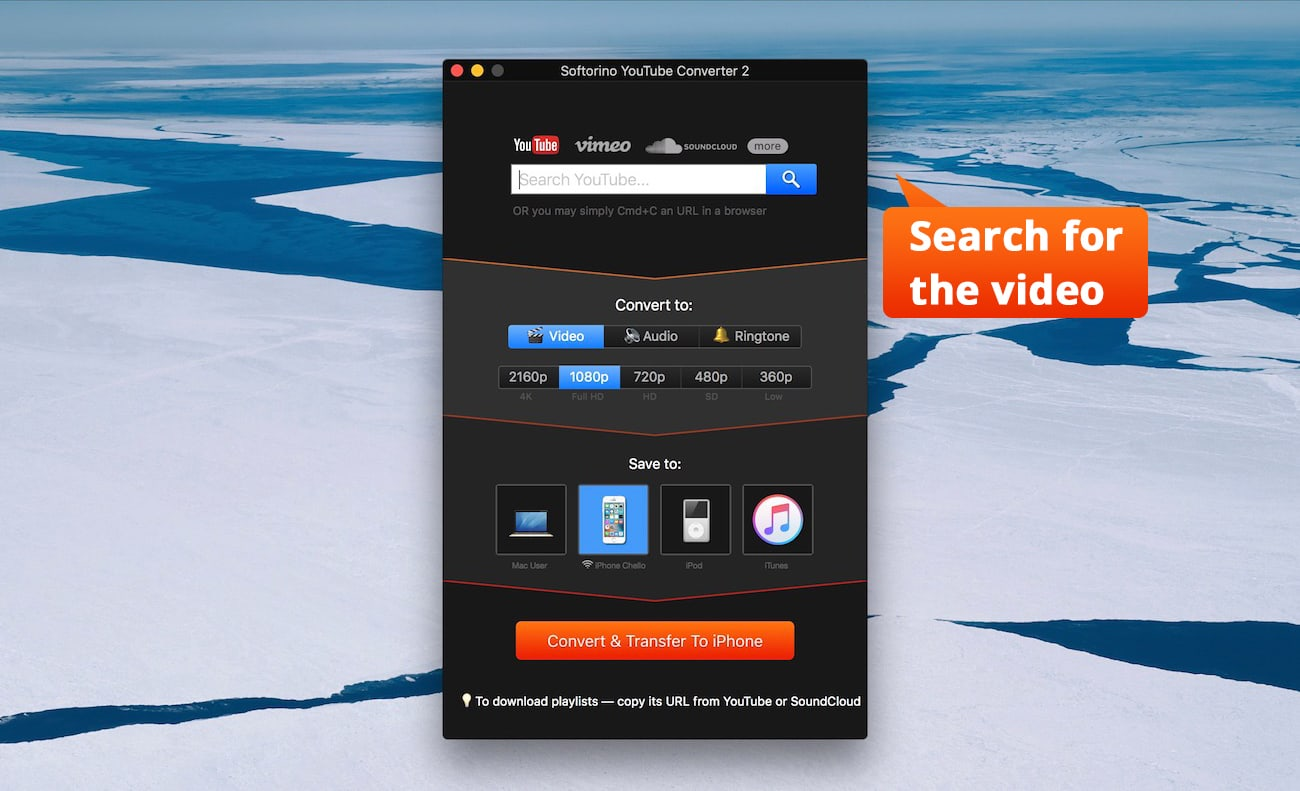 Download any video format and turn it into MP4 files.