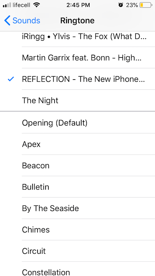 iPhone X exclusive ringtones in the default settings