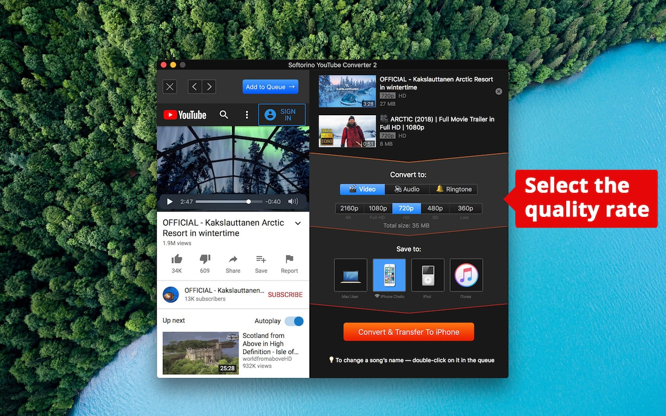 Choose the quality for the video and get YouTube Red features for free