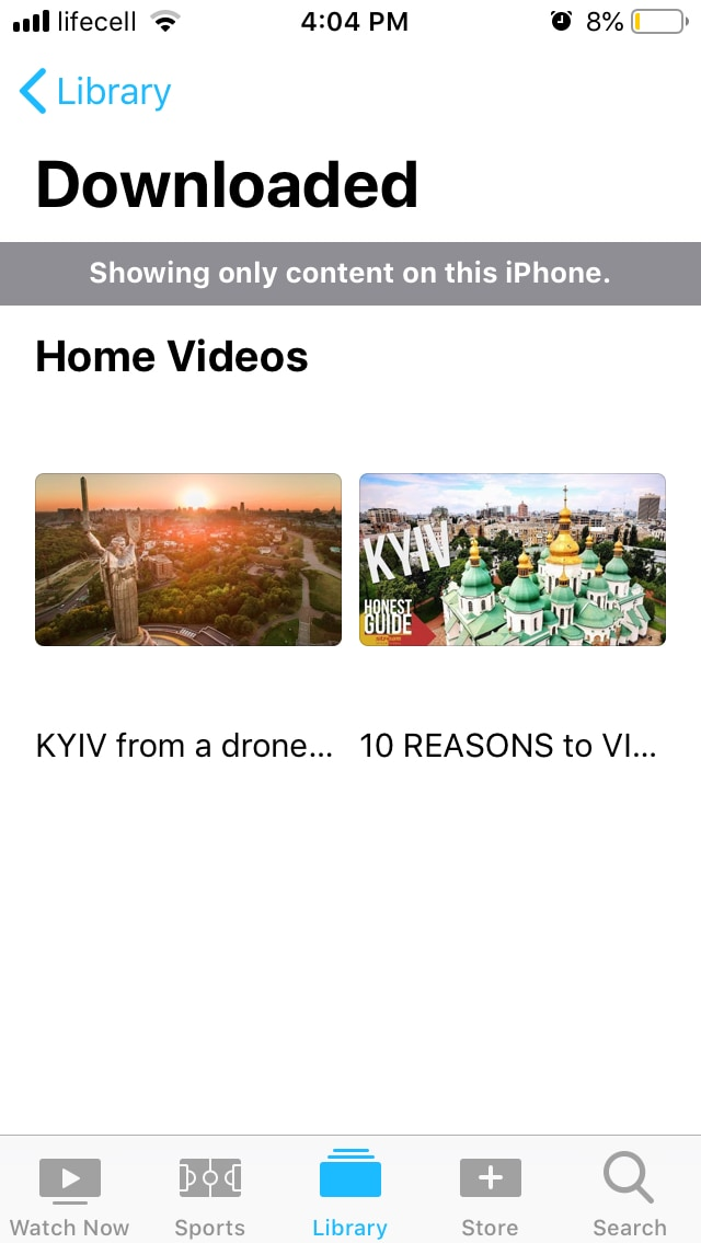 Videos will be downloaded to your TV app