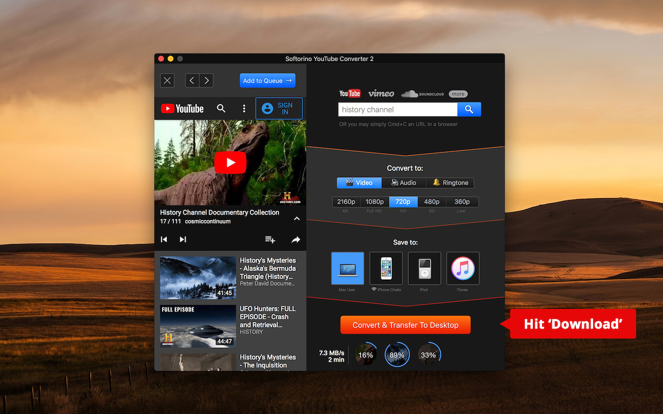 "Click ""Download"" and convert YT to MP4 on Mac and Windows without iTunes"