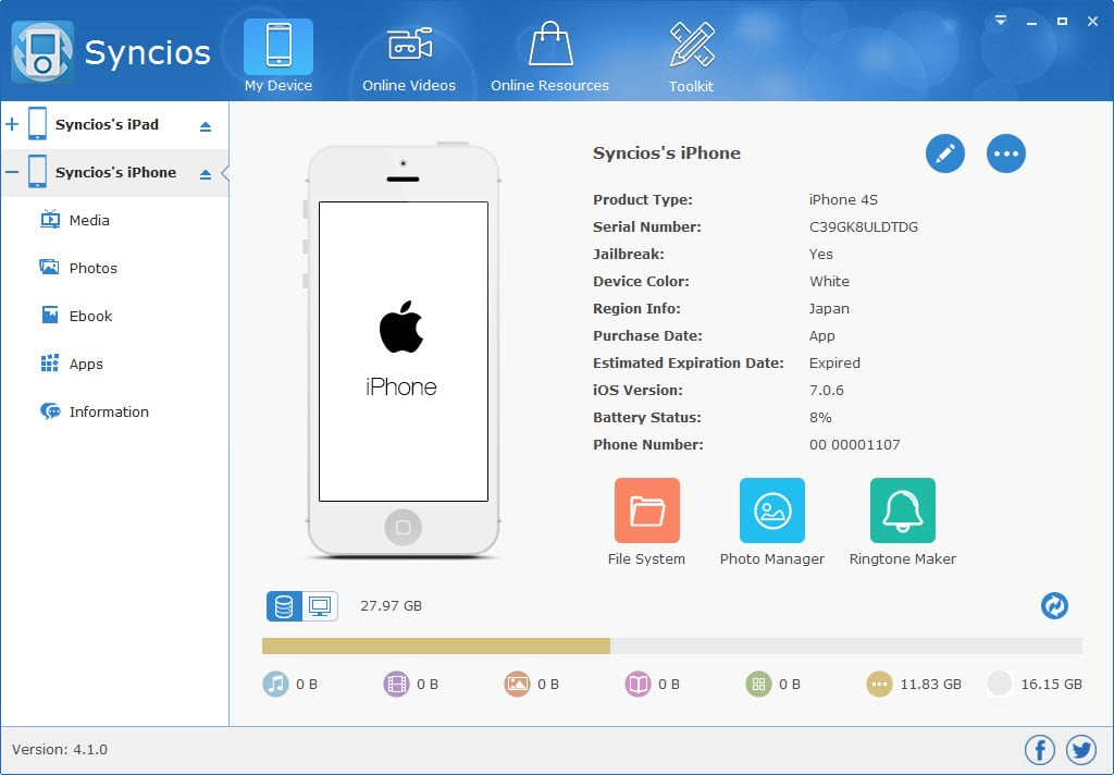 Syncios can help you move files from iPhone to computer