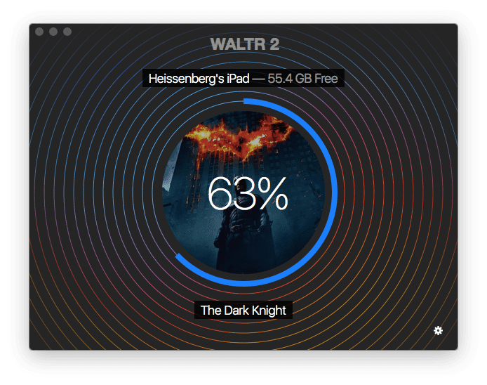 WALTR transfers MP4 movie to iPad