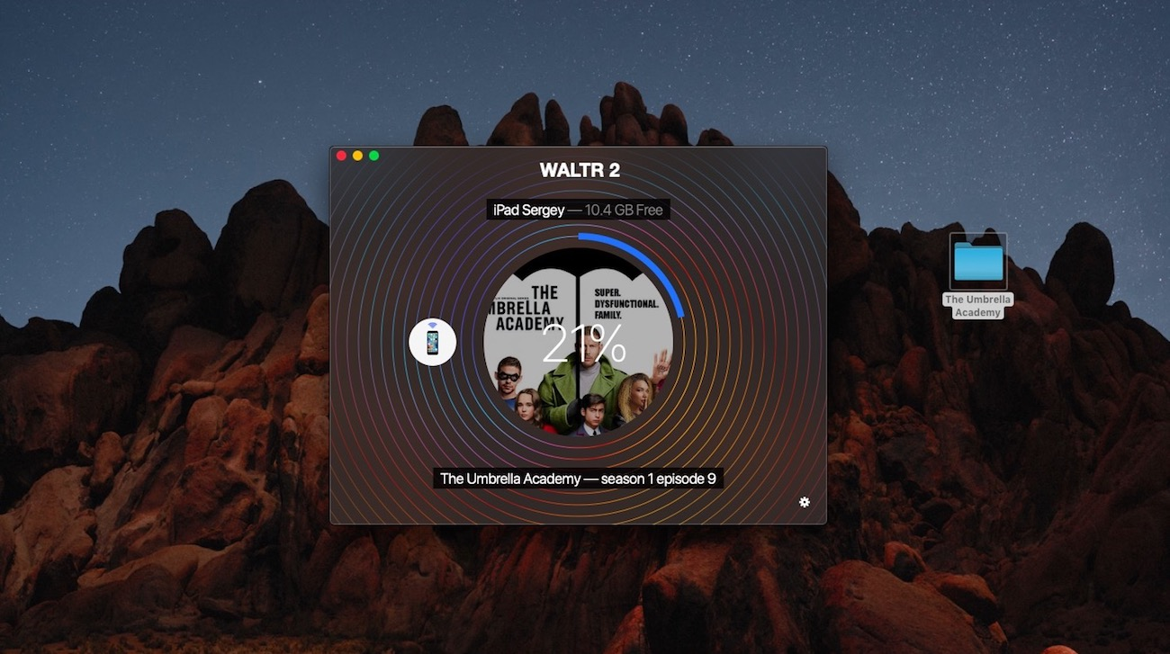 The process of transferring movies to iPad using WALTR