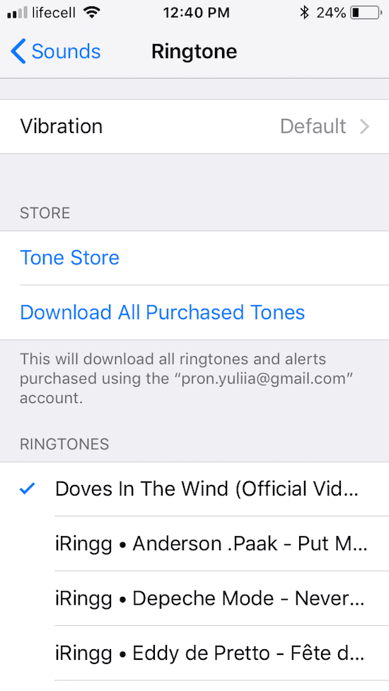 Set an iPhone ringtone in the default Sound Settings